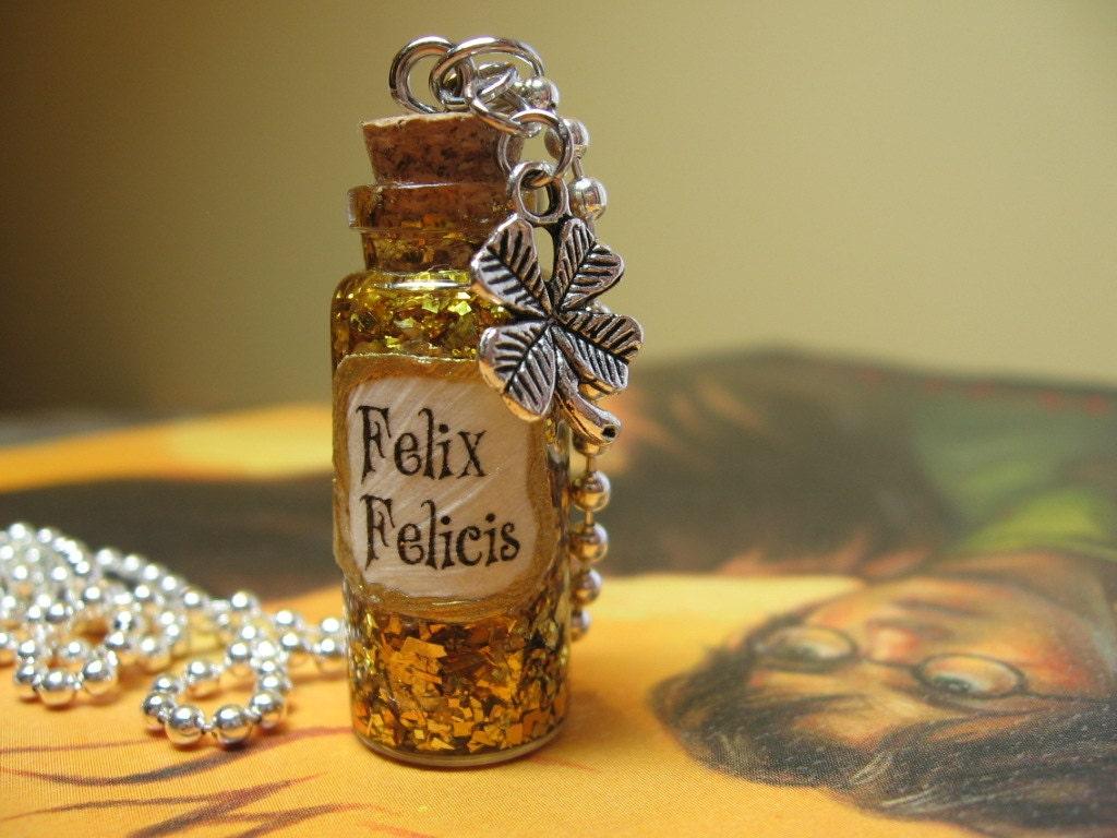 Felix Felicis Liquid Luck Gold Bottle Necklace