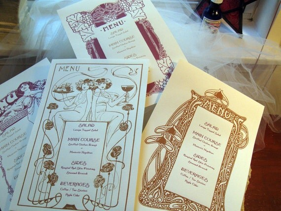 Art Nouveau Wedding Menu Template