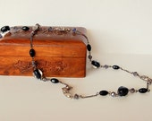Black, navy and silver long lampwork and glass crystal necklace