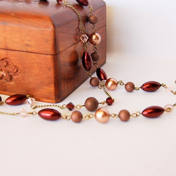 Burgundy, pink and bronze Swarovski crystal long antique style necklace