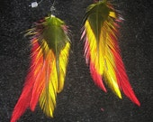 Tribal Fire Fusion Hand Dyed Natural Feather Earrings