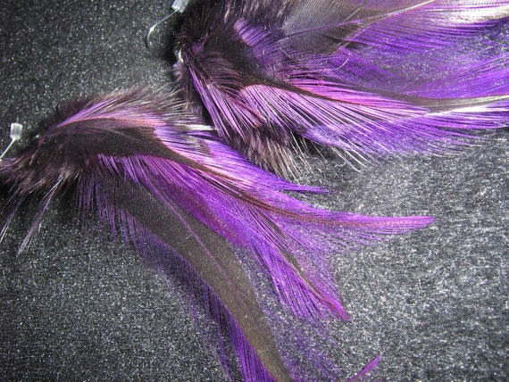 Baltimore Ravens Colors Hand Dyed Natural  Feather Earrings