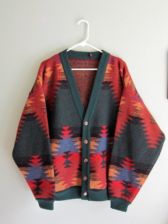 vintage southwestern jacket/ Navajo print cardigan/ slouchy unisex cardigan S-L