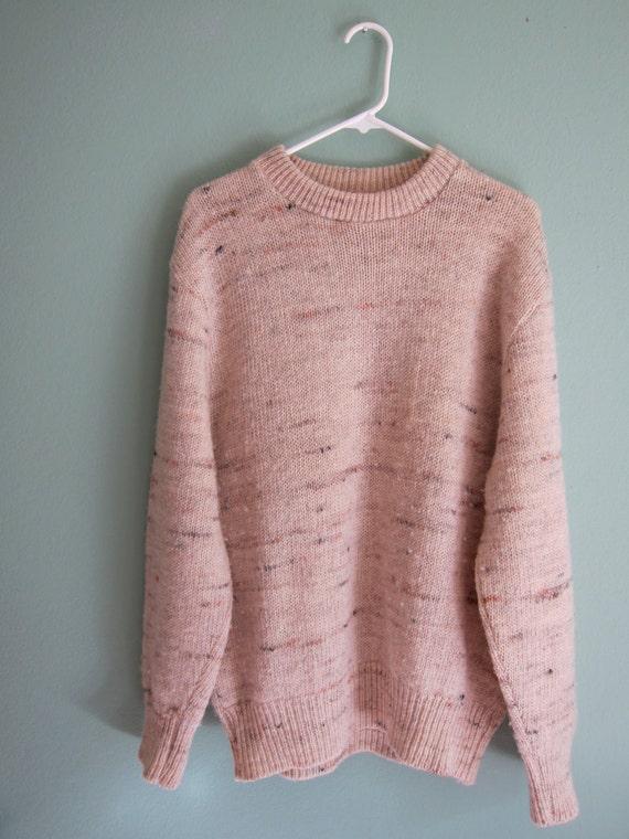 SALE 1970s marled cream oversized boyfriend sweater XL