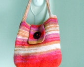 Knitted felted handbag, a wool knitted bag, felted bag in red, lilac, caramel and white.