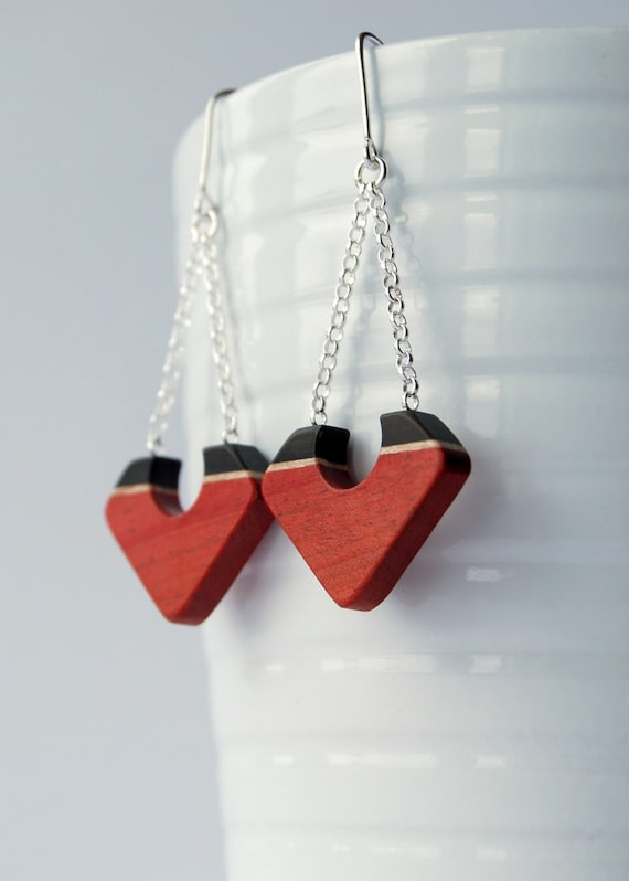 SALE 50 PERCENT OFF - Squared - Pink ivory, ebony maple and sterling silver earrings
