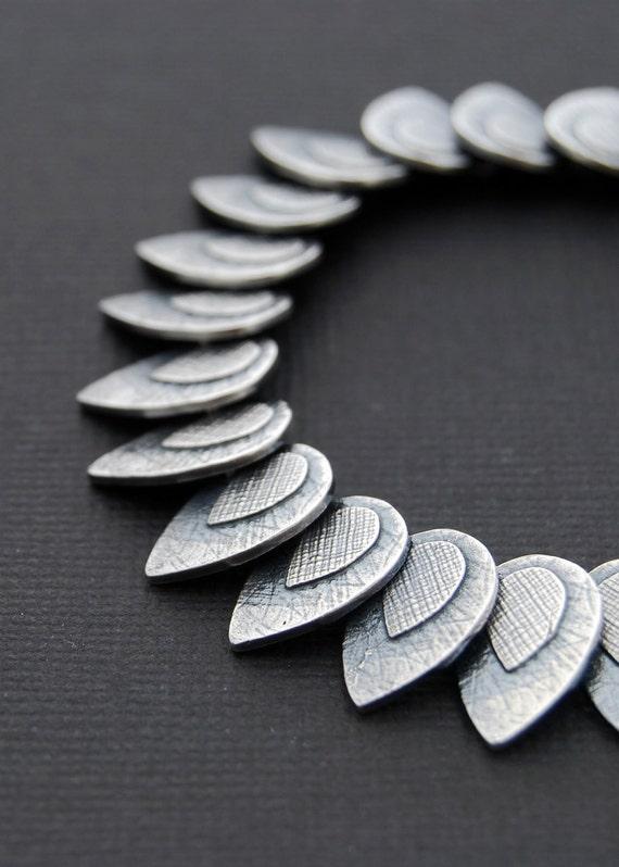 24 petals bracelet - sterling silver articulated bracelet