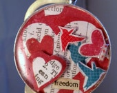 Handmade pendant - White blue red 'freedom with the birds' large resin pendant silver 1.5 inches