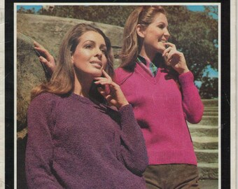ON SALE - Villawool Classic Knits for Lady's Raglan Style Sweater ( Size 32 to 46 inch bust) Knitting Pattern Book No 201  Vintage 1970s