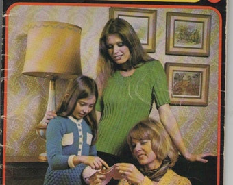 Woolcraft Knitting, Crochet  Pattern Book from Patons - Vintage 1970's
