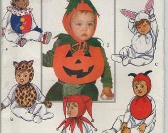 On Sale - 1990s Butterick Sewing Pattern No 5594 for Babies/Infants Clown, Rabbit, Tiger, Devil, Jester and Pumpkin,  Uncut, Factory Folded