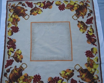 On Sale - 1960s Vintage Tablecloth with Bowls, Jugs and Fruit