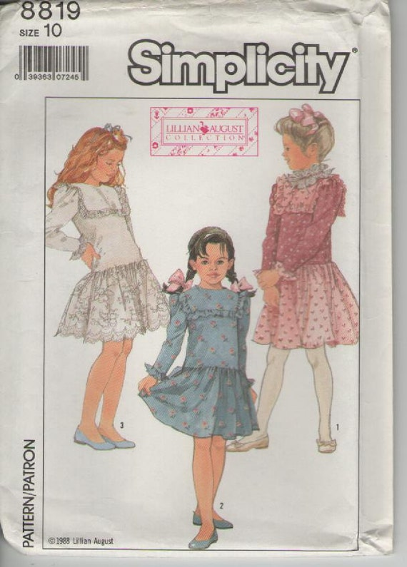 ON SALE - 1980s Simplicity Dress Pattern No 8819 for Girl's Dress Size 10 (Bust 28 1/2 inches) Uncut, Factory Folded