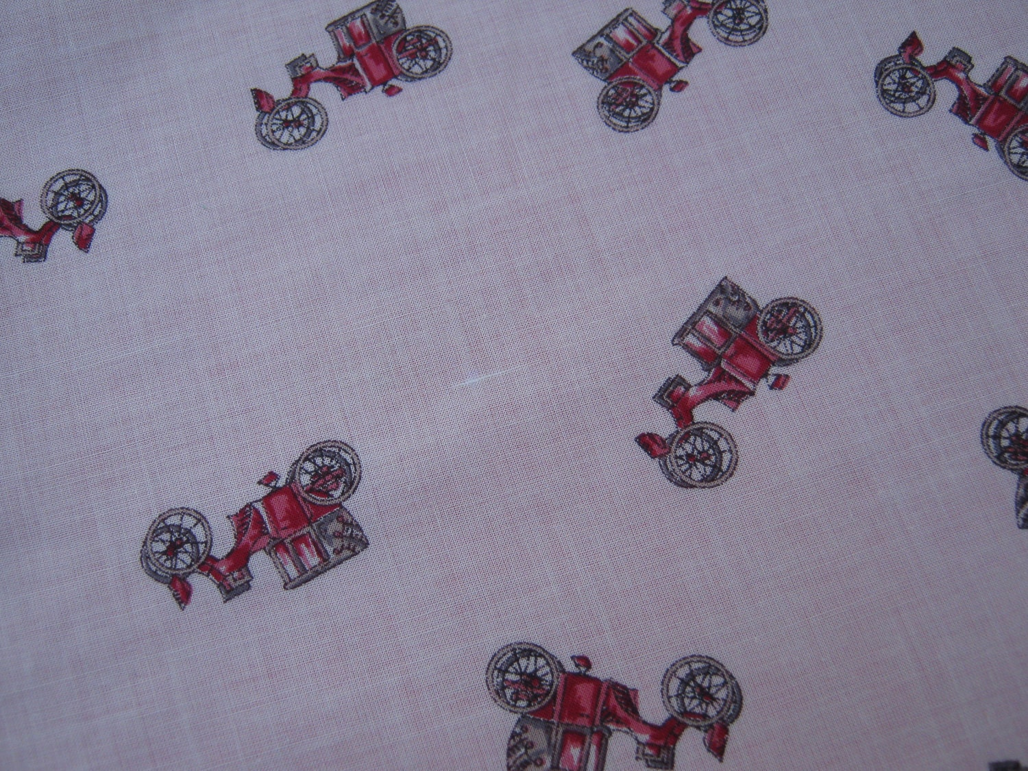 On sale retro style sewing fabric featuring red vintage cars for Sewing material for sale