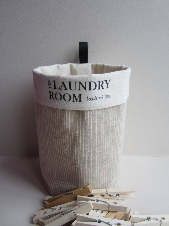 Clothespin Bag - Round Fabric Basket Bin Organizer- Laundry Room Decor - Clothes pin
