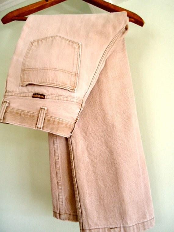 Vintage Mens Denim Pants 34 30 Jeans Wrangler Brown stone acid wash faded distressed skinny rustic cowboy hipster