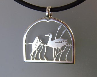 Silver Ducks on the Pond pendant