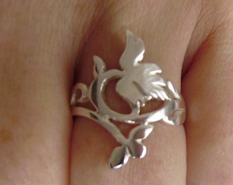 Two Flowers Ring in Silver