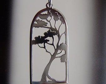 Gum tree pendant in sterling silver