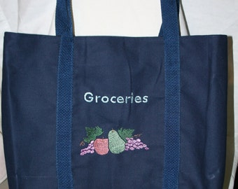 Canvas Tote embroidered with Groceries  (Item  #2104)