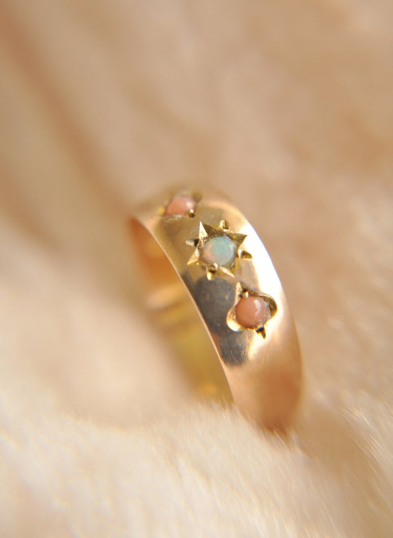 SALE /// Antique 1930s // 10ct Rose gold Coral and Opal engagement ring