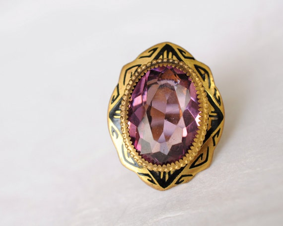1920s / Art Deco enamel and purple stone ring // SAGE