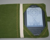 Kindle 3 - Book Style Kindle Cover - Lime Needlecord and Cotton Calico with Gold Embroidery  SALE 50% off
