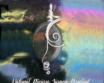 Natural Picasso Jasper Wire Wrapped Pendant