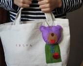 Cute bag with bear chain