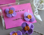 Set of 2 hair accessories pins in felt
