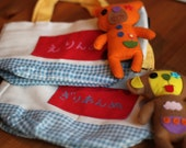 Custom personalized : 1 bag with your name in japanese and 1 cute plush bear or monkey keychain