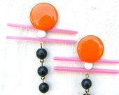 Colorful Geometric Earrings in Tangerine, Pink, Ink Blue and White -  Repurposed Vintage Jewelry by Z2a