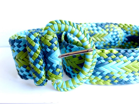 1990s Belt - Green and Blue Woven Pleather Belt