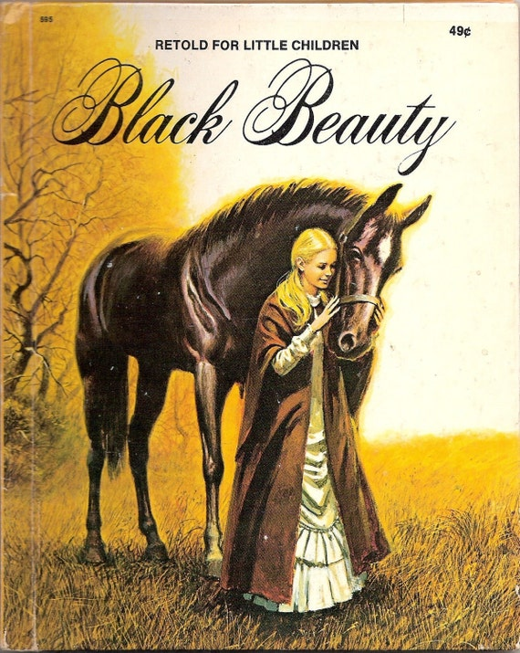 Anna Sewell's BLACK BEAUTY Vintage Wonder Book Illustrated by George Santos 1974