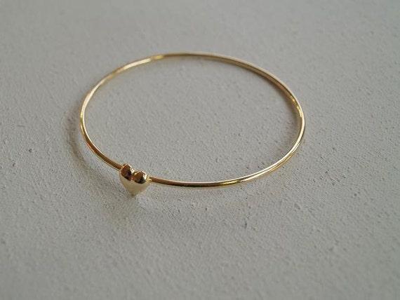 Make a wish gold mini heart bangle bracelet valentine