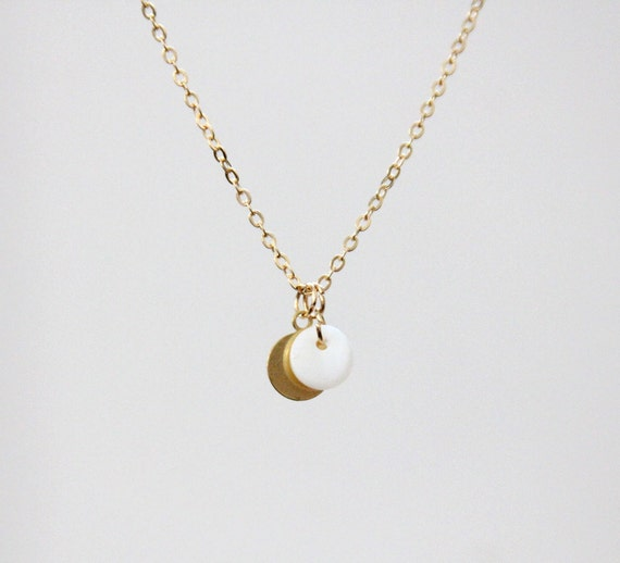 Delicate simple everyday mini mother of pearl & brass disc pendant gold necklace chain