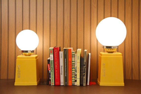 PAIR Retro Lamps, Upcycled Vintage Yellow Sugar and Flour Canisters - Glass Globe Shades