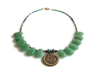 ON SALE Green Aventurine Necklace Brass Birds Pendant Turquoise Garnet Pyrite OOAK Women's Healing Gemstone Jewelry January December