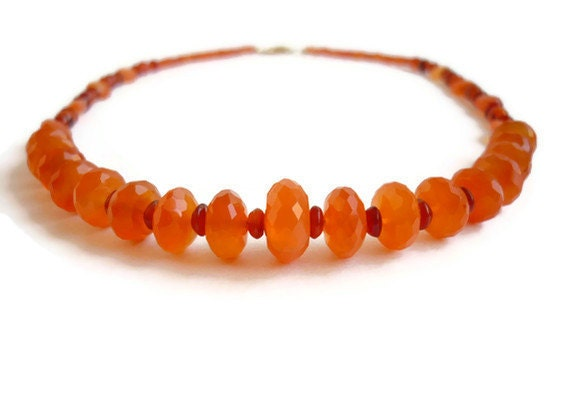 Carnelian Healing Necklace Gold Orange Sixth Sacral Chakra Women's Gemstone Jewelry Bohemian Zen Meditation Gift Faceted Natural Stones OOAK