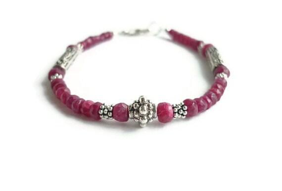 Ruby Healing Bracelet Sterling Bali Silver July Birthstone Cancer Root Chakra Women's Gemstone Jewelry Natural Stone GIft Meditation Yoga