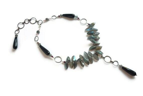 Labradorite Necklace Black Onyx Garnet Rutilated Quartz Sterling Silver OOAK Women's Healing Gemstone Jewelry Natural Stone Art Chakra