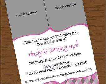 Custom Printable Pink Pattern Birthday Girl Invitation