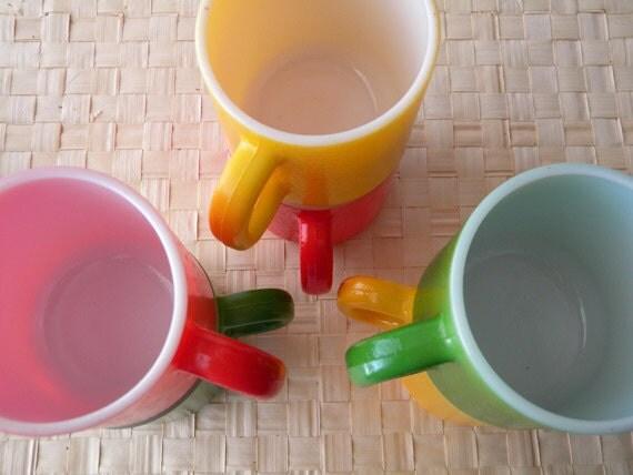 Vintage Milk Glass Multicolored Mugs Pebble Finish Gum Drop Colors Bright Shiny Cheerful FUN