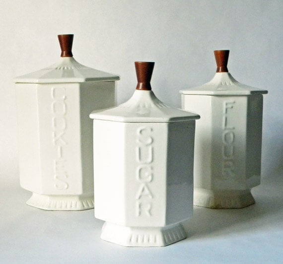 white canisters mcm styled ceramic with teak knobs