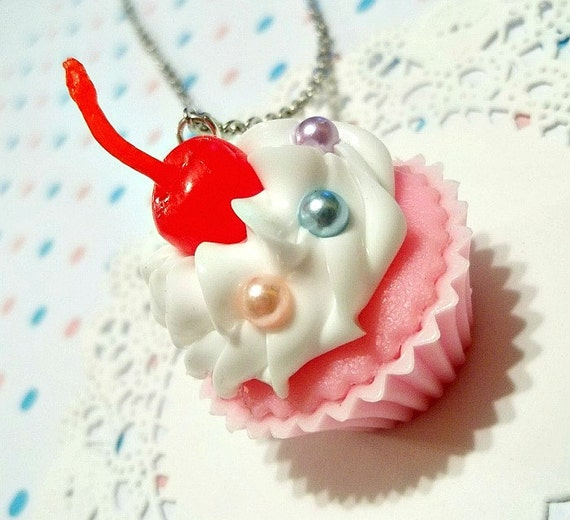 Sweetie Pink Cupcake Necklace VANILLA SCENTED