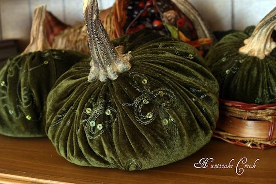 Embellished Velvet Pumpkin  Forest Green