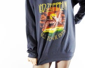 LED ZEPPELIN U.S. Tour 1975 The Legend Hard Rock Heavy Metal Sweater Hood Long Sleeve Women Shirt Unisex Shirt Men Shirt Rock T-Shirt Size L