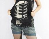 Rock And Roll Rockabilly Music Design Shirts Women Punk Rock Tank Top Tunic Black Sleeveless Vest Singlet Punk Rock T-Shirt Size S