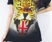 TIGER UNION JACK Tongue United Kingdom Animal Art Design Shirt Women Shirt Men Shirt Unisex Shirt Short Sleeve Shirt Black T-Shirt Size M