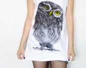BABY OWL HOOT Yellow Eyes Bird Animal Tank Top Women T-Shirt Tunic Top Singlet Vest T-Shirt White T-Shirt Sleeveless Owl T-Shirt Size M
